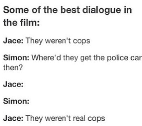 Didn't Simon see the cops start shrinking cuz I think that would give away the fact that they weren't cops