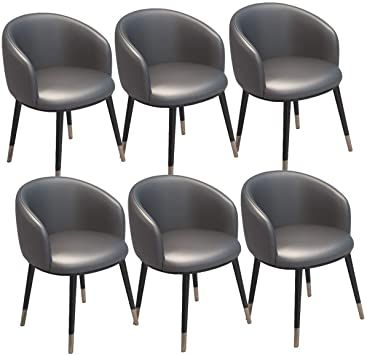 Zcxbhd Dining Chairs Set Of 6 Vintage Armchairs Pu Leather Seat With U Shaped Backrest Metal Legs Kitche Dining Room Living Room Dining Chair Set Dining Chairs Kitchen chairs set of 6