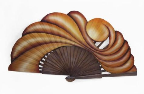 abanico encadenado  madera,tela de algodón manual
