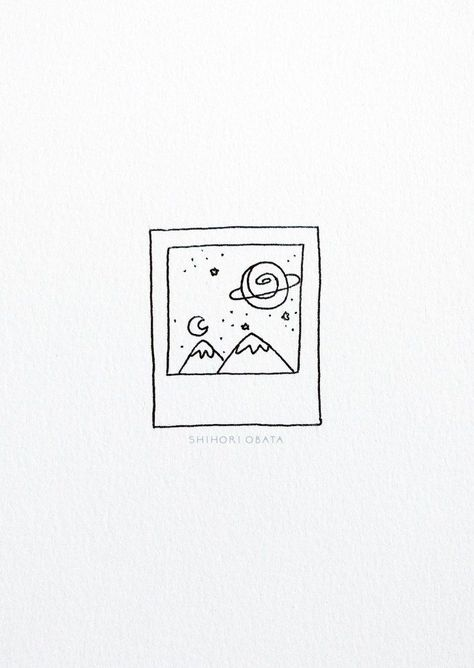 15 Beautiful Easy Drawing Ideas #drawing #doodles #bujo // Polaroid drawing space doodle, outdoors drawing, things to draw, drawing ideas