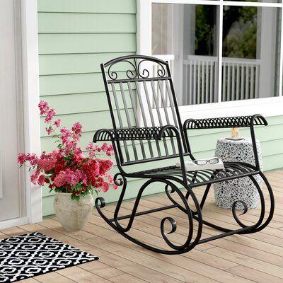 Fleur De Lis Living Nocona Outdoor Porch Rocking Chair Wayfair In 2020 Rocking Chair Porch Rocking Chair Garden Rocking Chair