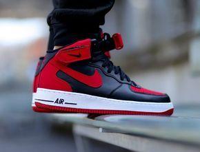 nouveaux styles d98cc 89938 Nike Air Force 1 Mid Black Red 'Bred' (rouge et noir) (2 ...