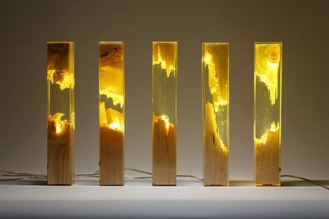Wood and Resin Lamp by Guideco Design | Resina epóxi, Resina