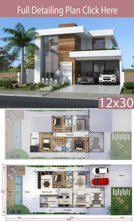 Home Design 12x30 Meters 4 Bedrooms In 2020 Modern House Facades Modern House Floor Plans Architectural House Plans