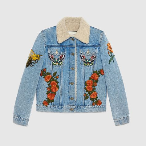 231cdabf0 Pin by Kelly McGreevey on jean jacket | Embroidered denim jacket, Gucci  denim, Denim jacket patches