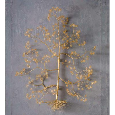 World Menagerie Gold Metal Wire Wishing Tree Wall Sculpture Tree