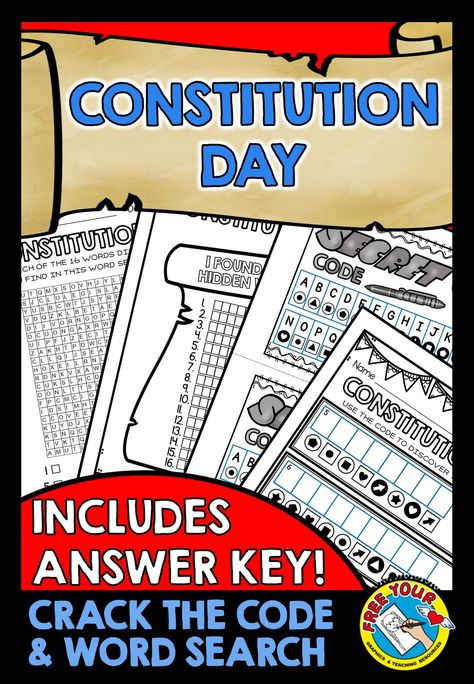 Constitution Day Activities Printables Word Search More Word