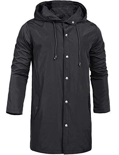 ZEGOLO Men's Raincoats Waterproof Jacket Hood Windbreaker Breathable Lightweight Business Outdoor Long Rain Jacket for Men