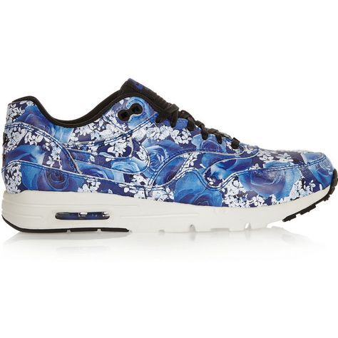 buy popular 24c8c c7e8e Nike Air Max 1 Ultra floral-print leather sneakers ( 110) ❤ liked on  Polyvore featuring shoes, sneakers, blue, leather sneakers, nike, lace up  sneakers, ...
