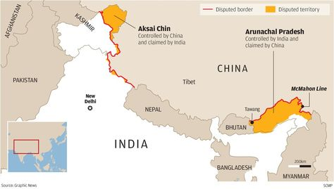 Chinese And Indian Border Dispute Arunachal Pradesh Aksai Chin