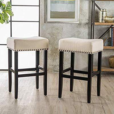 Amazon Com Chantal Backless Beige Linen Counter Height Stools