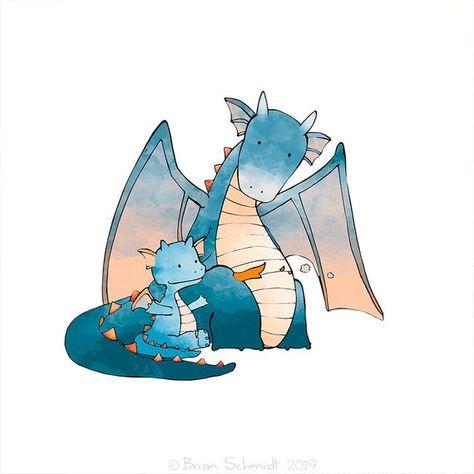 Baby Dragon Illustration - Fantasy Drawing, Dragon Learning to Breathe Fire, Children's Room Art, Kids Wall Art, Boys Room Decor - Blue