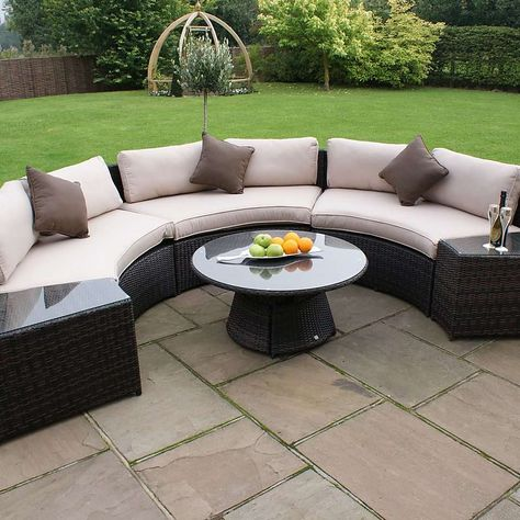 Maze Rattan Brown Half Moon 6 Seat Sofa Set Dunelm Outdoor