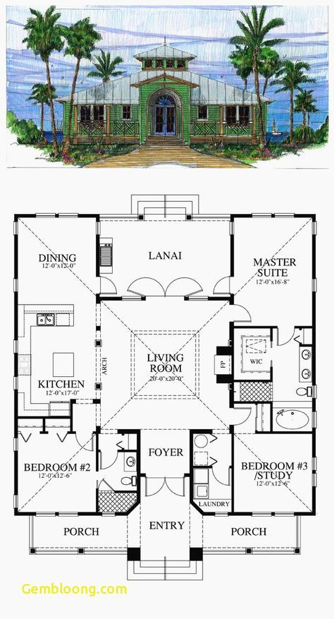 18 Super Ideas For House Beach Plans Small Open Floor Courtyard House Plans Home Design Floor Plans Beach House Plans