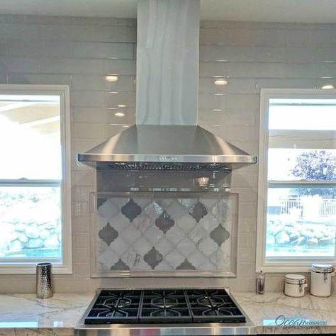 Clover Arabesque Grigio kitchen and stove backsplash #''kitchenshelves''