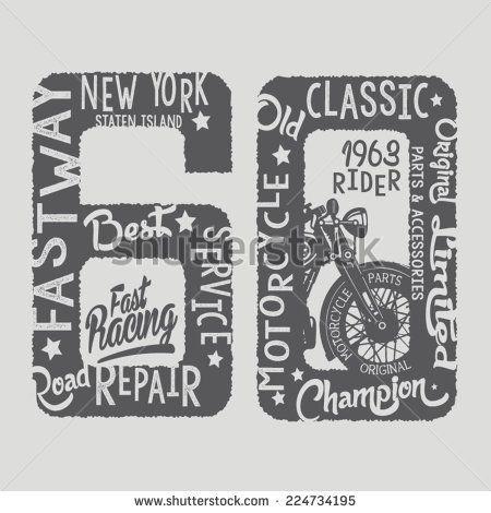 Vintage motorcycle, t-shirt graphics, vectors, sport