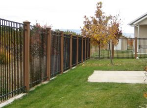 Black Metal Fence With Wood Posts Iron Fence Fence Landscaping Metal Fence Posts