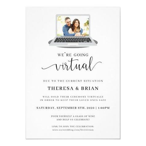 Ad: This virtual wedding invitation is the perfect way to let your friends and family know you've decided to hold your wedding virtually. #virtualwedding #announcement #invitation #quarantine #covid #rustic #virtualceremony