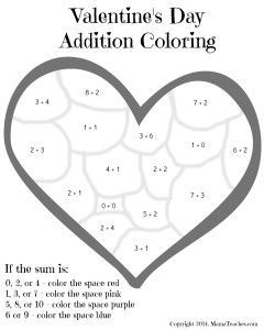 Valentine S Day Heart Addition Coloring Sheet Printable Addition Coloring Sheets Math Pages Math Valentines
