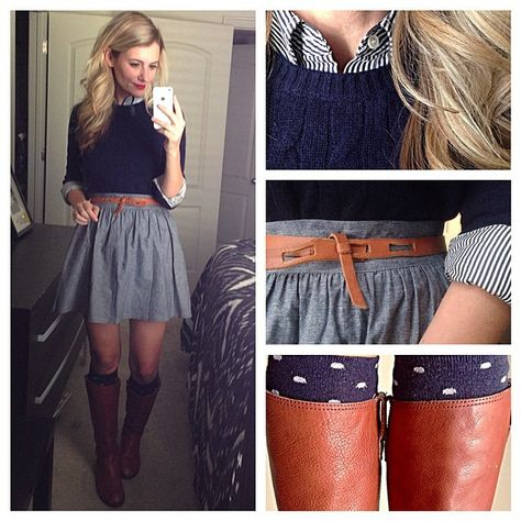 pleated chambray skirt + navy striped button down + navy cabled sweater