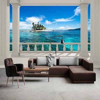 Vlies Fototapeten Wandtapeten 3d Insel Schone Balkon Meerblick Kn 1373 3d Wandbilder Wohnzimmer Wandbilder Wohnzimmer 3d Tapete