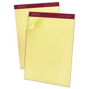 Ampad Gold Fibre Canary Quadrille Pad 8 1 2 X 11 3 4 Canary 50 Sheets Pad Top22143 Book Pads Quadrille Paper Quadrille