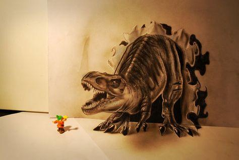 3d tekening(dinosaurus) | 3d tekeningen - 3d pencil drawings
