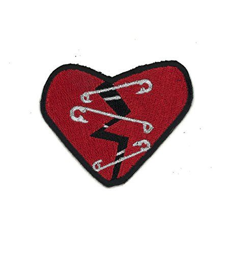 Small Black Heart Patch Goth Punk Embroidered Iron On Sew Fabric Badge Applique