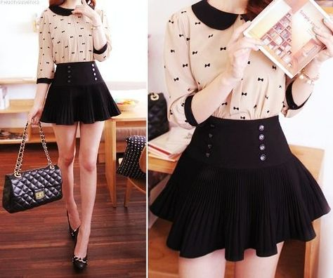 I really like this look with the black and white peter pan collared blouse, the black heels, and the black handbag.