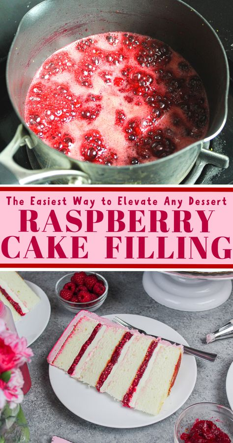 cake decorating 284008320240013732 - This raspberry cake filling is the perfect consistency, and is packed with that delicious tart raspberry flavor! It's sure to elevate any dessert! Source by chelsweets Cake Filling Recipes, Frosting Recipes, Dessert Recipes, Cake With Filling, Cake Flavors, Food Cakes, Cupcake Cakes, Fruit Cakes, Raspberry Cake Filling