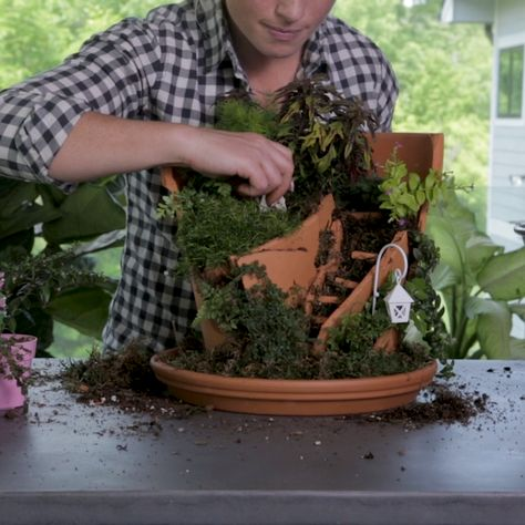 How to Make a Broken Pot Fairy Garden - Garden DIY