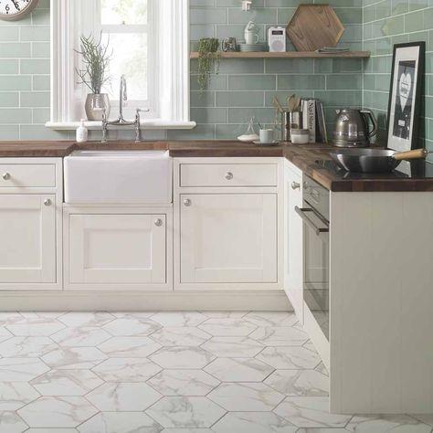 White Marble Effect Hexagon Tiles