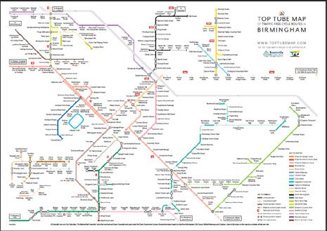 Tube style map of Birminngham cycle routes   Maps traffic ...