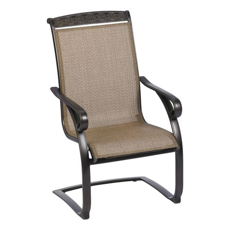 c spring patio chairs costco lounge chair covers living accents carlisle sling brown adh03219b01 with regard to
