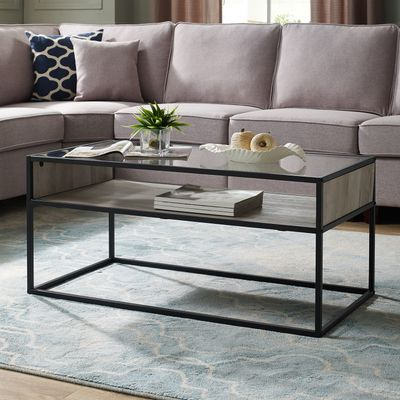 40 Gray Wash Metal Glass Coffee Table With Open Shelf Furniture Coffee Table Coffee Table Design