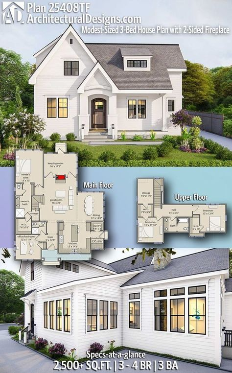 Plan 25408tf Modest Sized 3 Bed House Plan With 2 Sided Fireplace And Detached 2 Car Garage Sims House Plans House Plans Farmhouse Dream House Plans