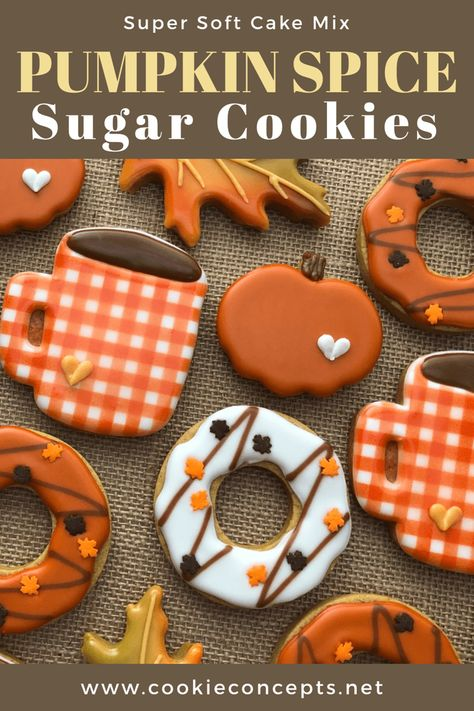 thanksgiving cookies Pumpkin Spice Cut-Out Cookies with a Cake Mix Thanksgiving Cookies, Fall Cookies, Cake Mix Cookies, Cut Out Cookies, Sugar Cookies Recipe, Holiday Cookies, Cookies Et Biscuits, Iced Sugar Cookies, Pumpkin Spice Sugar Cookie Recipe