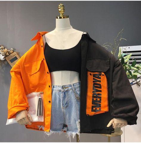 Harajuku Bomber Jacket Coats Women Loose Pocket Designer Cool Red Streetwear Hot Sale Kpop Yellow Spring shirt thin jeans jacket - Black Orange / L