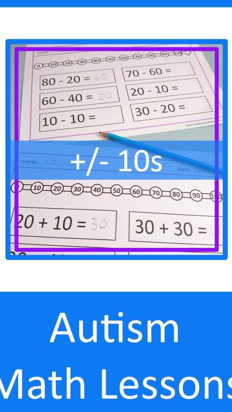 Add & Subtract 10s with Number Lines Autism Math Lessons
