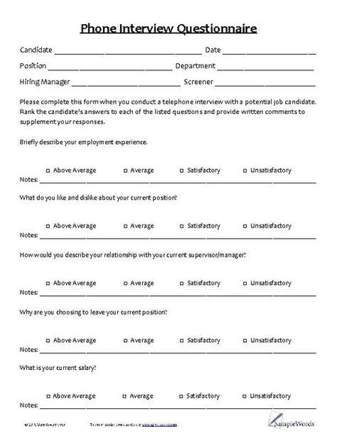 Pre Employment Medical Questionnaire  Sample Questionnaires