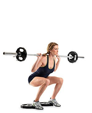 Dumbbell/barbell squat, heels raised on plates. | New Rules of ...