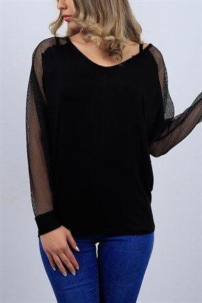 Kollari Fileli Siyah Bayan Bluz 9413b Kadin Giyim Moda Stilleri Giyim