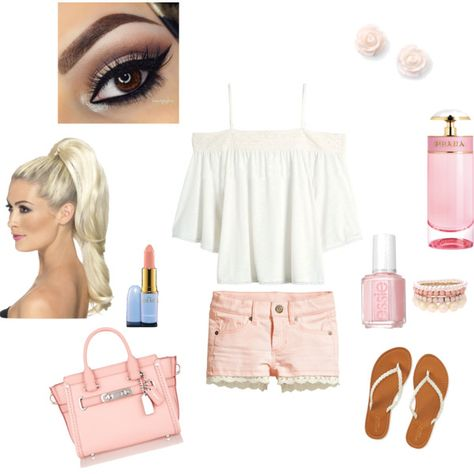 Spring Pink Outfit by beverly-d-spell on Polyvore featuring Aéropostale, Coach, Lipsy, MAC Cosmetics, Prada and Essie