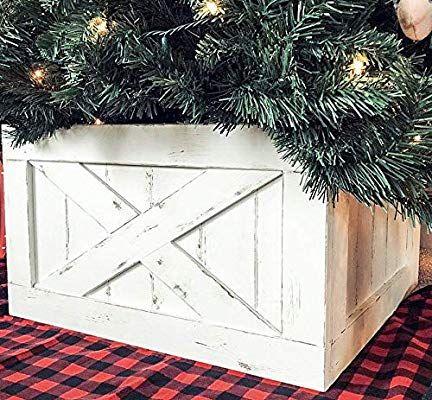 Amazon Com Finn Co Home Wood Christmas Tree Box Skirt White Distressed Home Kitchen Christmas Tree Box Big Christmas Tree Tree Box