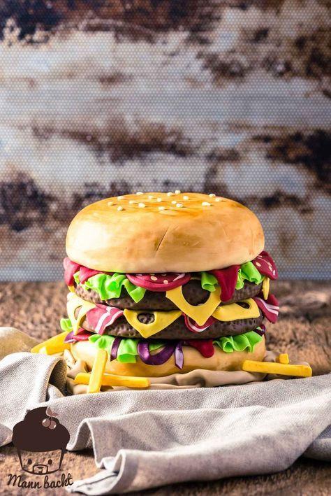 Schritt Fur Schritt Anleitung Hamburger Motivtorte Mann Backt Motivtorte Burgerkuchen Motivtorten