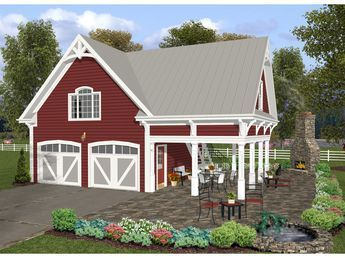 Apartment Garage Plan With Many Craftsman Details And Side Cover Porch Remodel Bedroom Garage Remodel Garage Apartment Plans