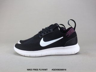 Mens Womens Nike Free Rn Flyknit 2018 Black White Pink Running Shoes Nike Pink Running Shoes