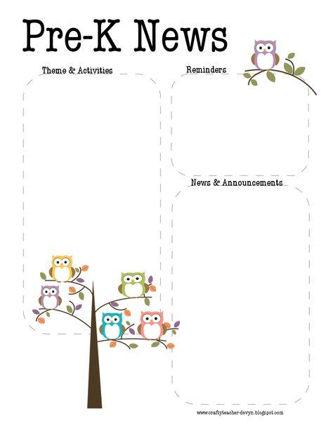 Pre-K Owl Newsletter Template | The Crafty Teacher