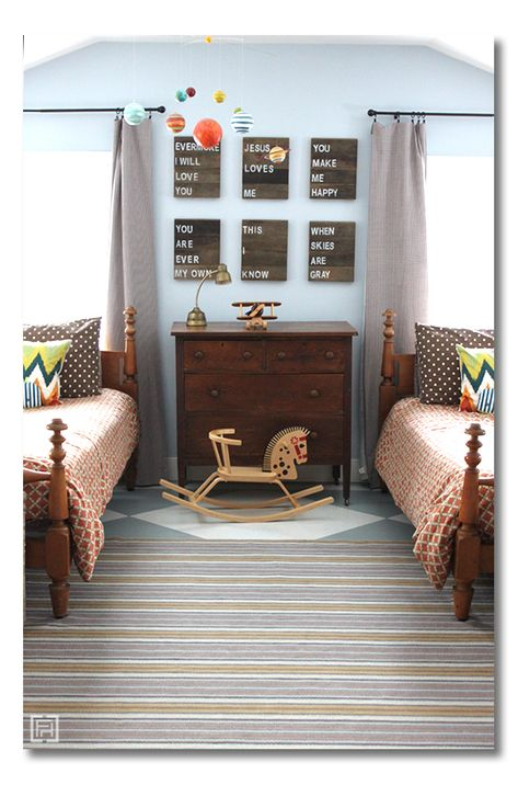 Gorgeous Boys room reveal! Sophisticated and timeless with TONS of storage (+ sources - children's room ideas, kids room ideas via @darlene weir @ Fieldstone Hill Design )