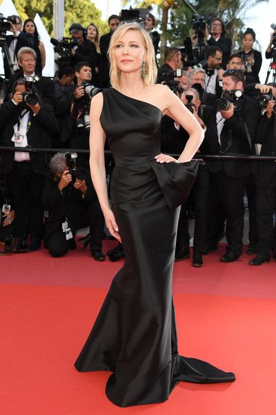 Jury president Cate Blanchett walks the red carpet in protest of the lack of female filmmakers honored throughout the history of the festival at the screening of 'Girls Of The Sun (Les Filles Du Soleil)' during the 71st annual Cannes Film Festival at the Palais des Festivals.